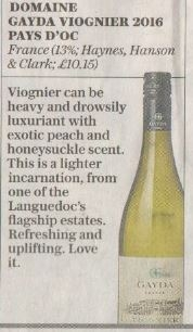 Domaine Gayda Cépage Viognier The Telegraph 24th June 2017
