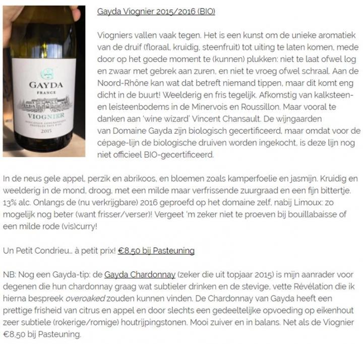 Domaine Gayda Viognier & Chardonnay Vinoblogie.nl